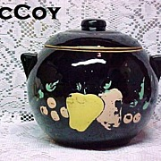 McCoy Cookie Jar 1939-1944 Ball Shape Black Cold Paint Fruit Design RARE