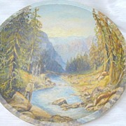 Old Wood Bowl with Original Oil Painting of Fly Fisherman