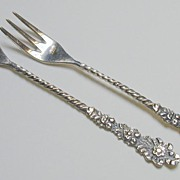 Pair of Coin Silver Vintage Ornate Forks