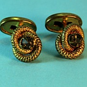 Early 1900s Cuff Links – Golden Knot with Chocolate Brown Stone