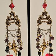 Chandelier Earrings Cupid Heart Swarovski Garnet, Jet Black, Gold Dorado Victorian Style, Vale