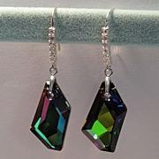 Earrings: STUNNING Swarovski De Art Crystal in Custom Crystal Sphinx coating, Sterling Silver,