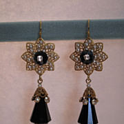 SOLD Artisan Haskell Cream Baroque Pearls and Swarovski Jet Black Crystal Beaded Earrings
