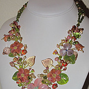 SOLD Sculptured Art Glass Flower Baroque Pearl Beaded Necklace, custom order J