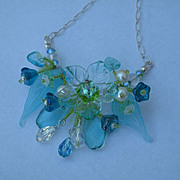 Sculptured Art Glass Flower Natural Pearl Beaded Necklace