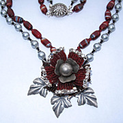 SOLD Artisan Flower Silver Imitation Pearl Garnet Red Beaded Necklace by Inna Victoria