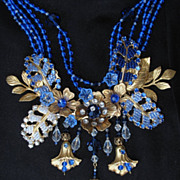 Artisan Flower Collage Beaded Necklace Sapphire Blue Vintage Japanese and Swarovski Beads, by