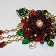 Artisan Flower Floral Cream Faux Baroque Pearls Cranberry Red Emerald Collage Beaded Pin Brooc