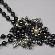Black Baroque Natural Pearl Swarovski Crystal Beaded Hand Wired Collage Necklace by Inna Victo