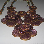 SALE!!!Artisan Flower Purple Amethyst Glass Seed Bead Necklace Creation by Zhanna Kotova
