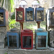 Painted metal Tea Canisters with glass front panels and original paint
