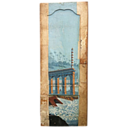 19thC.Panelled Door from France with original  riverscene litho print