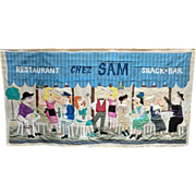 Signed 1980s Patchwork Sign 'Chez Sam Restaurant  '