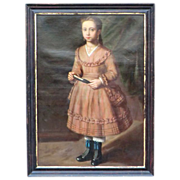 SOLD 19th C. Oil painting of young Spanish Girl  .