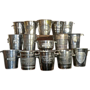 SOLD Collection of 15 Advertising Champagne Buckets from France
