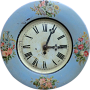 SOLD Painted Tolework Wall Clock from France