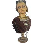 SOLD Wax Milliner's Bust made by Imans of Paris