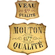 SOLD Pair of Engraved Brass Butcher's Plaques from France.