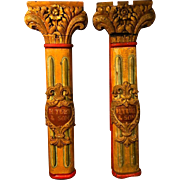 Pair of Carved & Gilded Fairground Columns