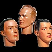 Group of 3 Vintage Barber's Shop Mannequin Heads