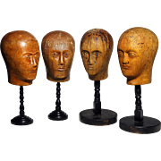 Two Pairs of carved wood Wigmaker's Heads from France.