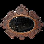 Unusual 'Sailorwork' Mirror in carved wooden frame.