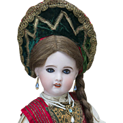 "18 1/2"" (47 cm) Antique French Bisque SFBJ/Jumeau doll in wonderful rare Russian ..."
