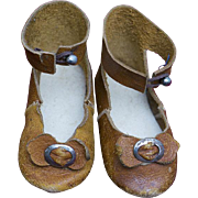 Antique Original French Leather Doll Shoes with rare mark for Jumeau bru Steiner Gaultier and