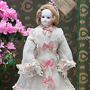 "SOLD 18"" (46 cm) Antique Superb French Bisque Wooden-Bodied Fashion doll with bisque hand"