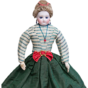 "13 1/2"" (34 cm) Early Antique French Bisque Poupee  Doll with Cobalt Blue Enamel Eyes by"