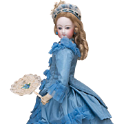 14in (36 cm) Antique French French Fashion Bisque Doll in Wonderful Blue Silk Costume with Fan
