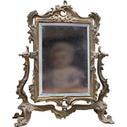 Antique French Psyche / Cheval Mirror with metal frame for fashion doll Huret Rohmer Jumeau Br