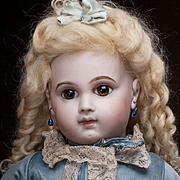 "20"" Very Beautiful Antique French Early Bisque Bebe E.J. Doll by Emile Jumeau in original"