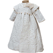 SOLD Antique French White Pique  Dress  with Embroidery for Jumeau, Bru, Steiner, Eden bebe do