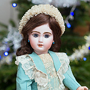 "18"" (46 cm) Very Lovely Antique Beautiful French Bisque Open Mouth Bebe Jumeau doll size"