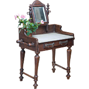 """19"""" (48 cm) tall Antique French Wooden Toilette Table with Marble Top & Basket  for fashi"""