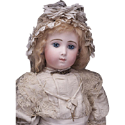 "SOLD 22"" (56 cm) VERY BEAUTIFUL FRENCH BISQUE BEBE TRISTE BY JUMEAU IN RARE SIZE 10"