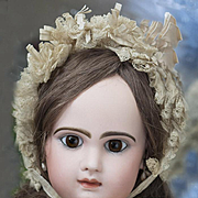 "SALE PENDING 25"" Very Beautiful Antique French Jumeau Bebe Closed mouth, original dress,"
