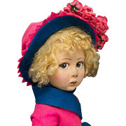 "SOLD 16"" (41 cm) Antique Italian Felt Early Character Girl Doll by Lenci with Original Co"