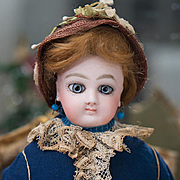 "14"" (36 cm.) Antique French Fashion Wide-Eyed Doll by Jumeau with Signed Jumeau Body, ori"