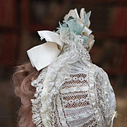 Antique Original French Bonnet with Valenciennes Lace and Silk Ribbon for Jumeau Bru Steiner E