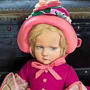 Antique Italian Felt Doll by Lenci in Original Gown, 300 series