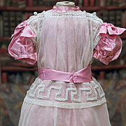 """Antique French Tulle Lace & Silk Dress for Jumeau Bru Steiner Eden bebe  doll about 26-27"""""""