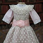 "Antique Original Dress & Pinafore for Jumeau Bru Steiner Eden bebe doll 22-23"" tall"