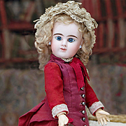 "16"" (41 cm) Antique Pretty All Original French Bisque Blue-eyed Bebe with closed mouth by"