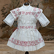 SALE PENDING Antique French Original White Cambric Pinafore Dress with red Cross-Stitch for 18