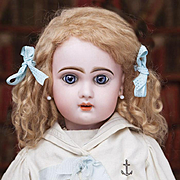 "21"" (54 cm) Very Lovely Antique French Bisque Bebe Jumeau in Original Sailor dress, c.189"