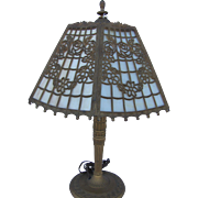 Paneled Slag Glass Filegree Table Lamp