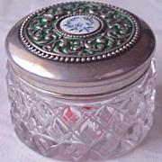 SALE CB & H  Victorian Sterling & Enamel Mini Dresser Jar