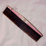 Foster and Bailey Sterling and Guilloche Enamel Hair Comb - Circa 1925